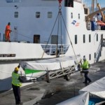 Lee Bailey is pictured supervising the loading of gigs on the Scillonian 111 bound for the Isles of Scilly.