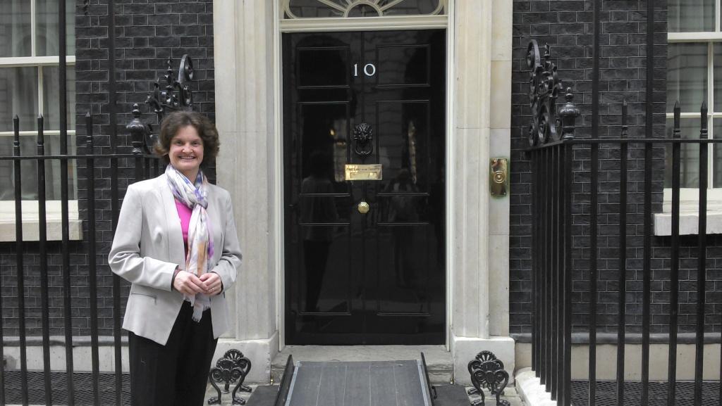 Kelsall Steele director Clare Vaughan outside Number 10