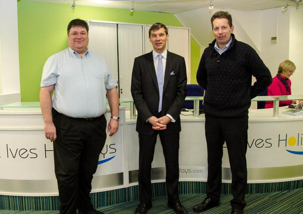 Lanhams directors Barry (l) and Derek Hall (r) with John Waldie