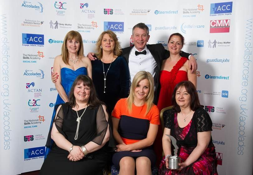The Cornwall Care team with TV presenter Helen Skelton (front row, centre)