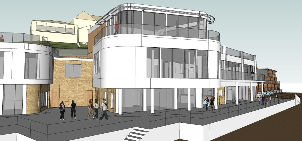 CGI image of the proposed beach front development at Carbis Bay