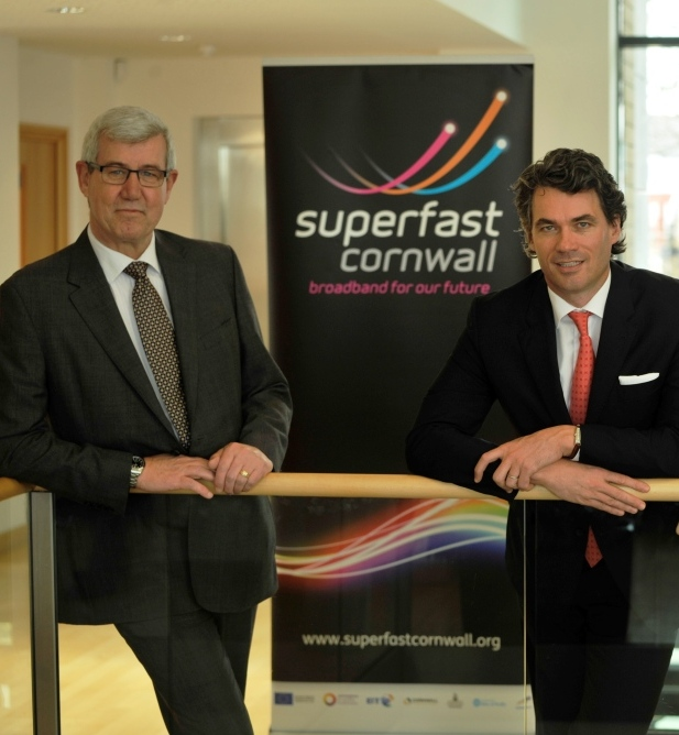 Superfast Cornwall programme director, Nigel Ashcroft (l) with BT chief exec, Gavin Patterson
