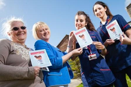 Cornwall Care deputy director of operations, Bridget Varney, presents a 'Thank you' card to nurses Virginia Garcia Suarez, Vega Mier Garcia and Maxine Sikora