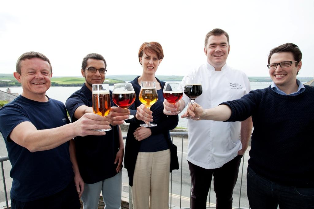 L-R: Dave Haskell (Sharp's Brewery acting general manager), Ed Hughes, Victoria Segebarth (Molson Coors head of craft businesses), Nathan Outlaw, Ian Dodgson (general manager of Outlaw's Restaurants)