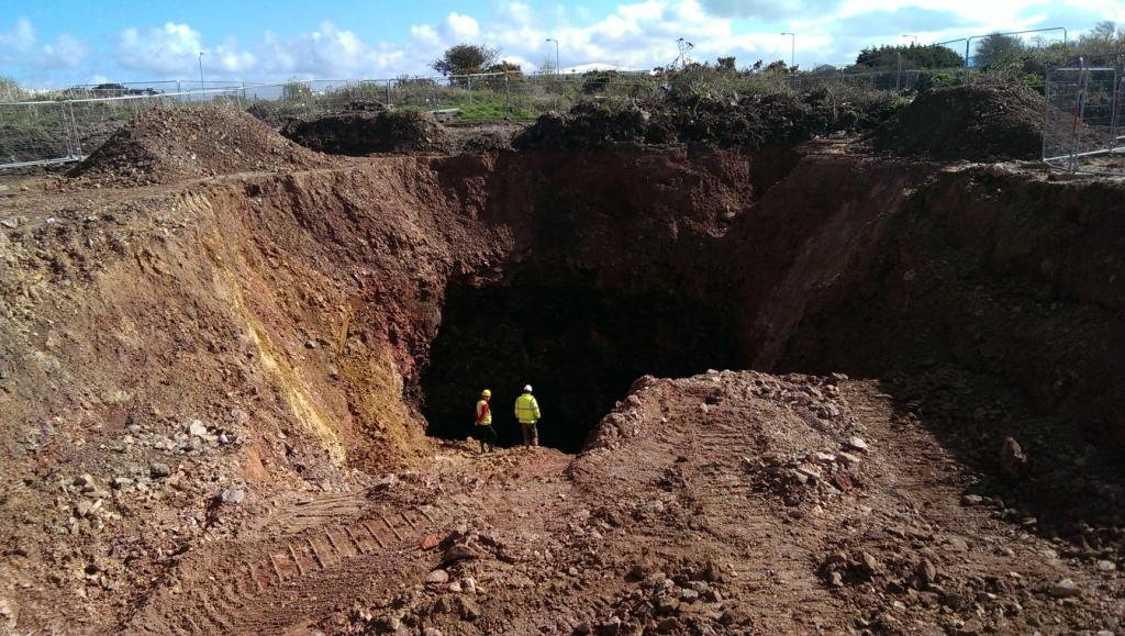 Image of one of the mine shafts at Wheal Harmony to be capped