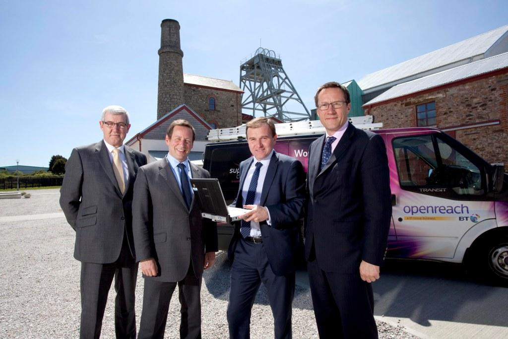 L-R: Nigel Ashcroft (Superfast Cornwall Programme Director for Cornwall Development Company),  Communications Minister Ed Vaizey; George Eustice, MP; and Ranulf Scarbrough (Superfast Cornwall Programme Director for BT)