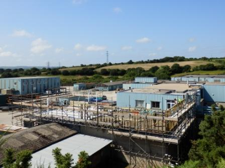 Overlooking the Headworks buildings as work commences