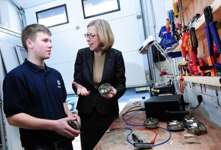 Marine engineer Kaelan Dunbar with Sarah Newton MP