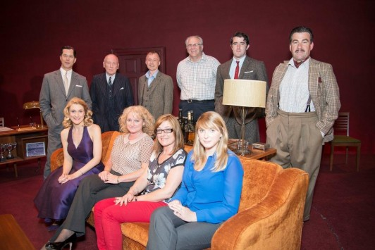 Members of WWFP with cast members - (Back row l-r) Daniel Betts, Christopher Timothy, Neil Chamberlain (WWFP), Peter Meeson (WWFP), Philip Cairns, Robert Perkins. (Front row l-r) Kelly Hotten, Lynne Williams (WWFP), Kelly Oliver (WWFP) and Katie Rose (WWFP)