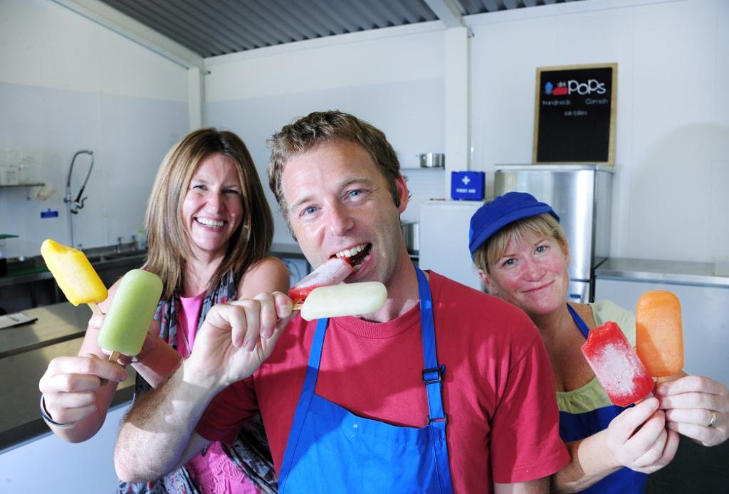 Oxford Innovation business coach Sarah Wilkinson (l) with Joe Waters and Marina Davey from deliPOPS