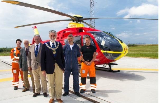 Provincial Grand Master, R.W.Bro Peter George and fellow Freemasons with Cornwall Air Ambulance paramedics Amy Sainsbury and Stuart Croft and pilot Craig Webster