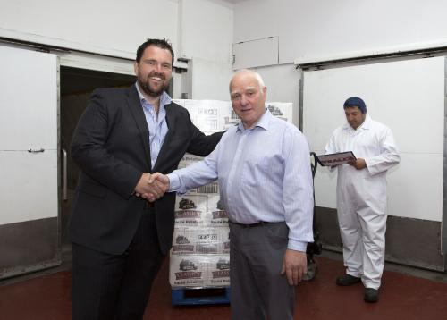 Gavin Roberts,  MD of The Kernow Sausage Company (left) with Ron Veall, founder of Vealls of Newquay.