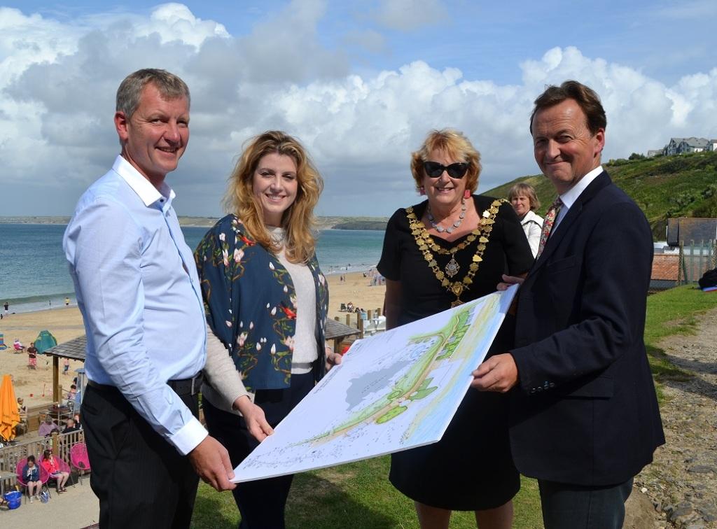 L-R: Stephen Baker, owner of Carbis Bay Hotel; Penny Mordaunt MP; Linda Taylor, Mayor of St Ives; and Andrew George, MP for St Ives