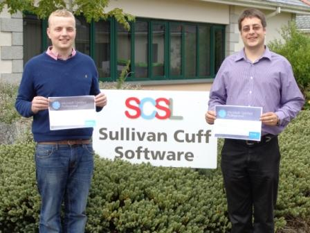 L-R: Michael Nicholls and Richard Card with their Microsoft Certified Professionals certificates