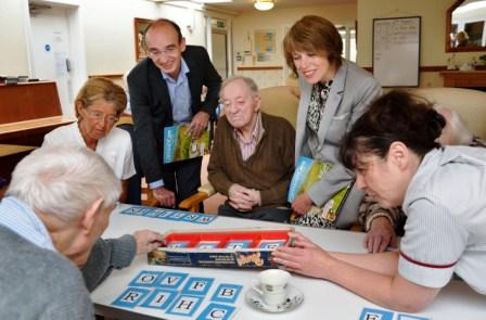2.Sharon Allen, Chief Executive, Skills for Care; Redannick House deputy manager Karen Philips and Glen Mason, Director of People, Communities and Local Government, with residents