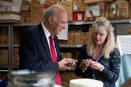 Business Secretary Vince Cable with Amanda Barlow, MD of Spiezia Organics, in the company's manufacturing labs at HWIC