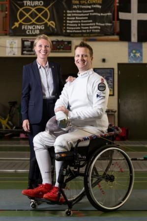 Kate McCavana with paralympic fencing hopeful, Matthew Campbell-Hill
