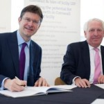 The Rt Hon Greg Clark MP, Minister of State for Universities, Science and Cities, and Chris Pomfret, Chairman of the Cornwall and Isles of Scilly Local Enterprise Partnership, officially sign the Growth Deal at the University of Exeter Environment and Sustainability Institute.