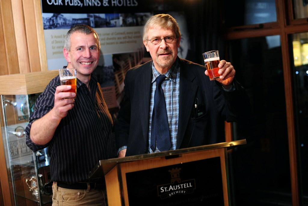 Jolly Rogers: St Austell Brewery head brewer Roger Ryman (l) raises a glass with beer expert Roger Protz
