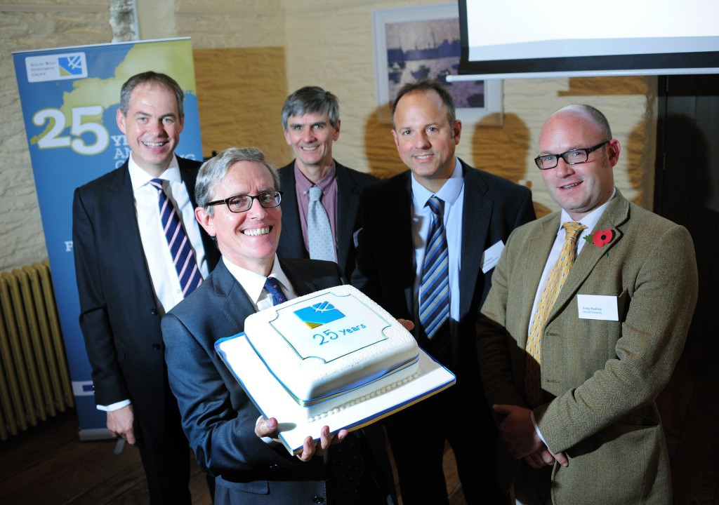 L-R: David Beaumont, south west area director of SME banking, Lloyds; Richard Coombs, SWIG group chairman; Ben Hughes, CEO of the Community Development Finance Association; John Peters, MD of SWIG; Toby Parkins,  president of the Cornwall Chamber of Commerce