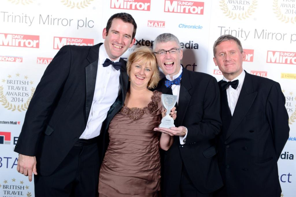 Eden Project directors (l-R): David Harland, Rita Broe, Gordon Seabright and Peter Stewart with the Best UK Leisure Attraction trophy