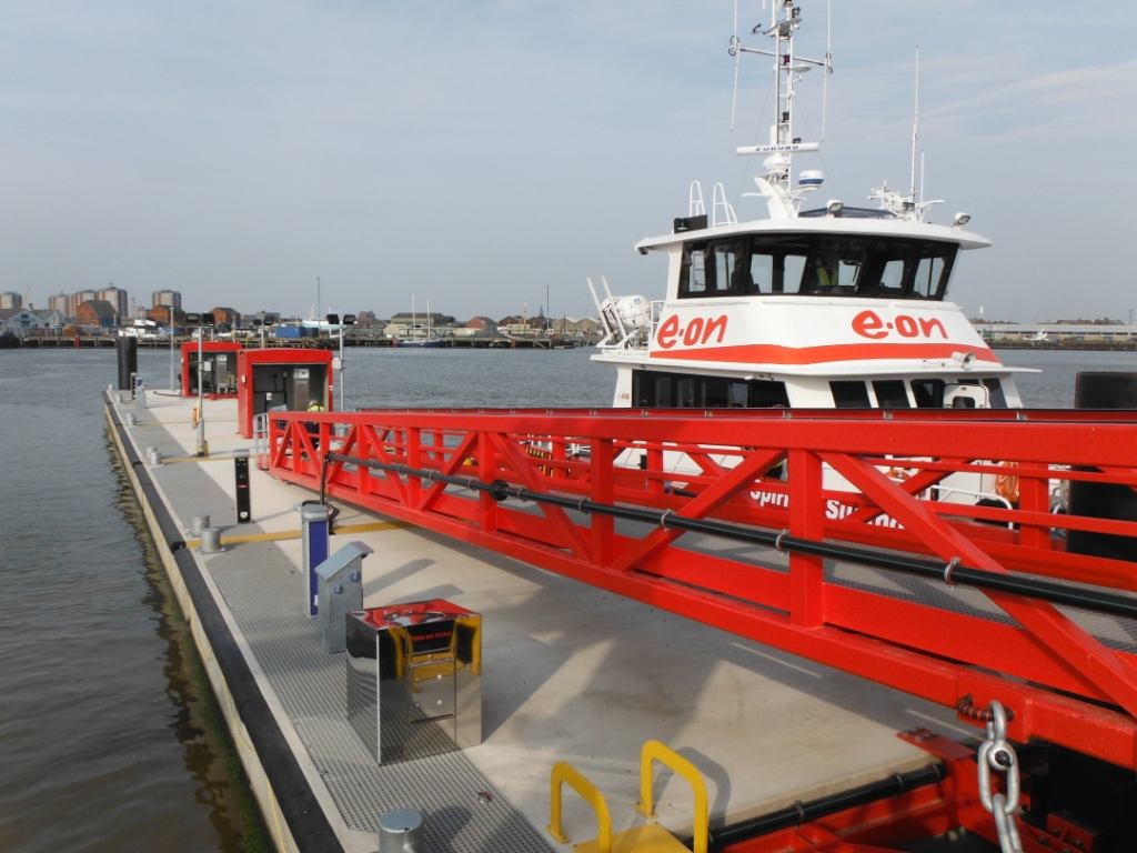 : One of the pontoons made and installed by Marine Designs Ltd, at Grimsby Fish Docks