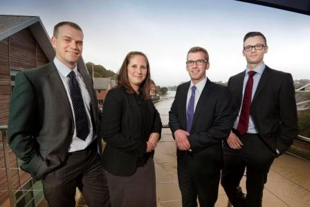 L-R: Foot Anstey partner, James Collings, welcomes new recruits  Alanna Tregear, Morgan Lister and James Clark