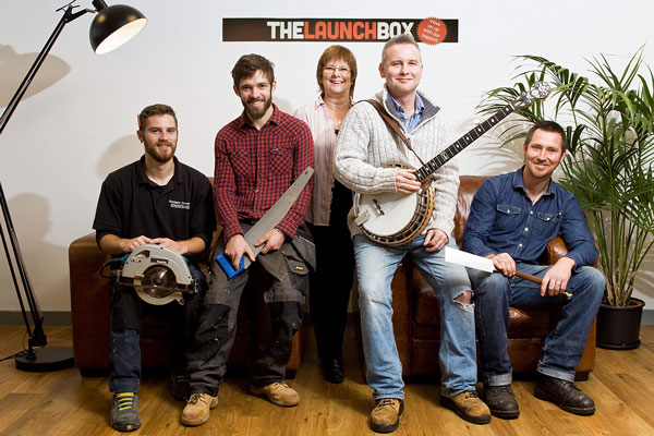 Steve Jones and Ollie Lytton from Penzance Carpentry with Janet Ross from The Launchbox, and John Dowling and Louis Bauress from The Cornish Banjo Company