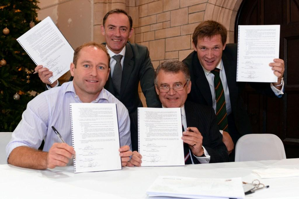 Signing the agreement (l-r): Rob Saltmarsh (managing director of Inox Group), Julian Painter (director at Henry Boot Developments Ltd), Ian Connell (chairman of the Cornish Pirates), Martin Tucker (director at Penwith College)