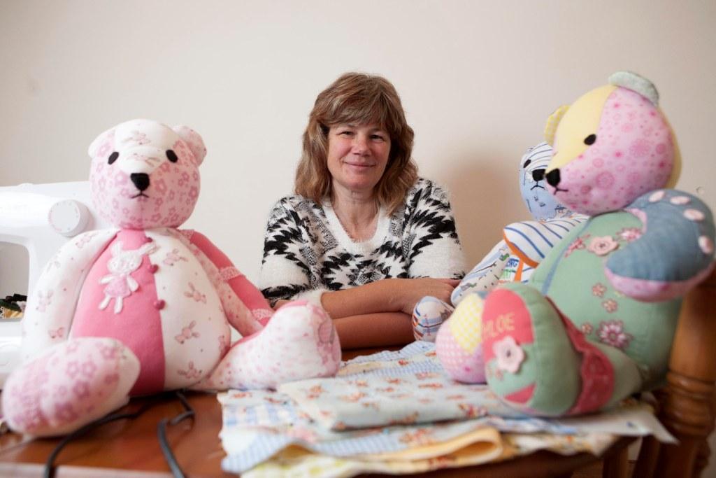 Lorna Maclean and some of her handmade Emiko bears