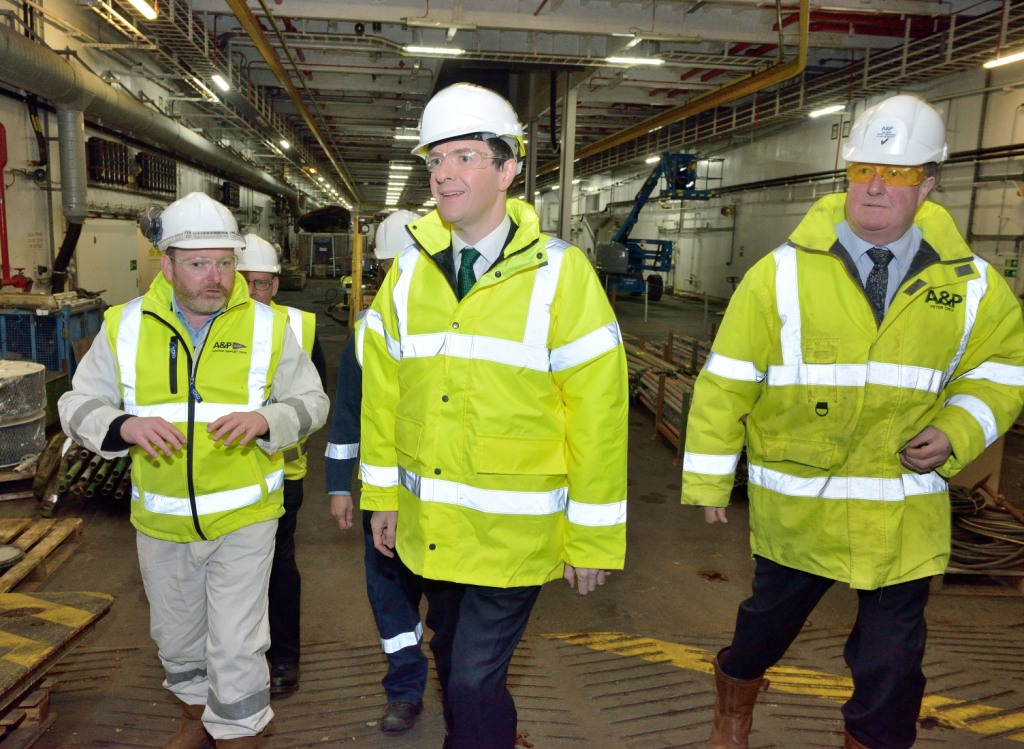 L-R:  Kevin Murray RFA Technical Supt, George Osborne, A&P Falmouth MD Peter Child