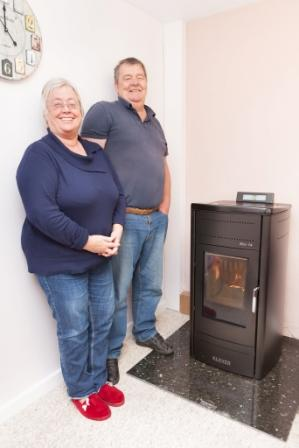 Jill and Ian Birch with their biomass boiler
