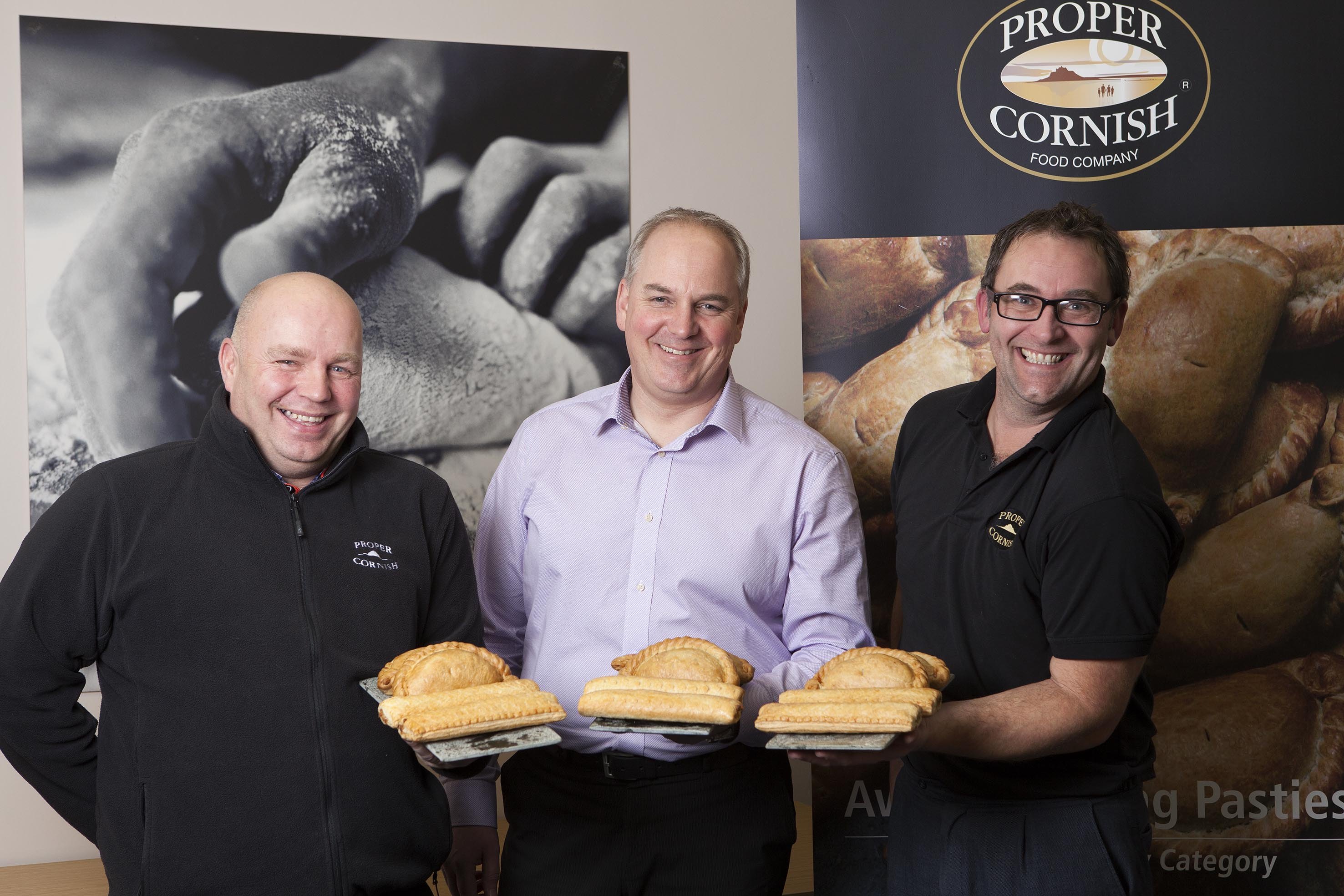 L-R: Production manager, Kev Davis; MD Chris Pauling; new product development chef, Nick Stanyer