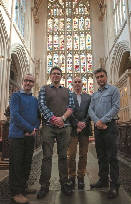 L-R: Ben Gammon (ABG), Oliver Taylor (Bath Abbey), Howard Miles (ABG) and Chris Hubert (ABG)
