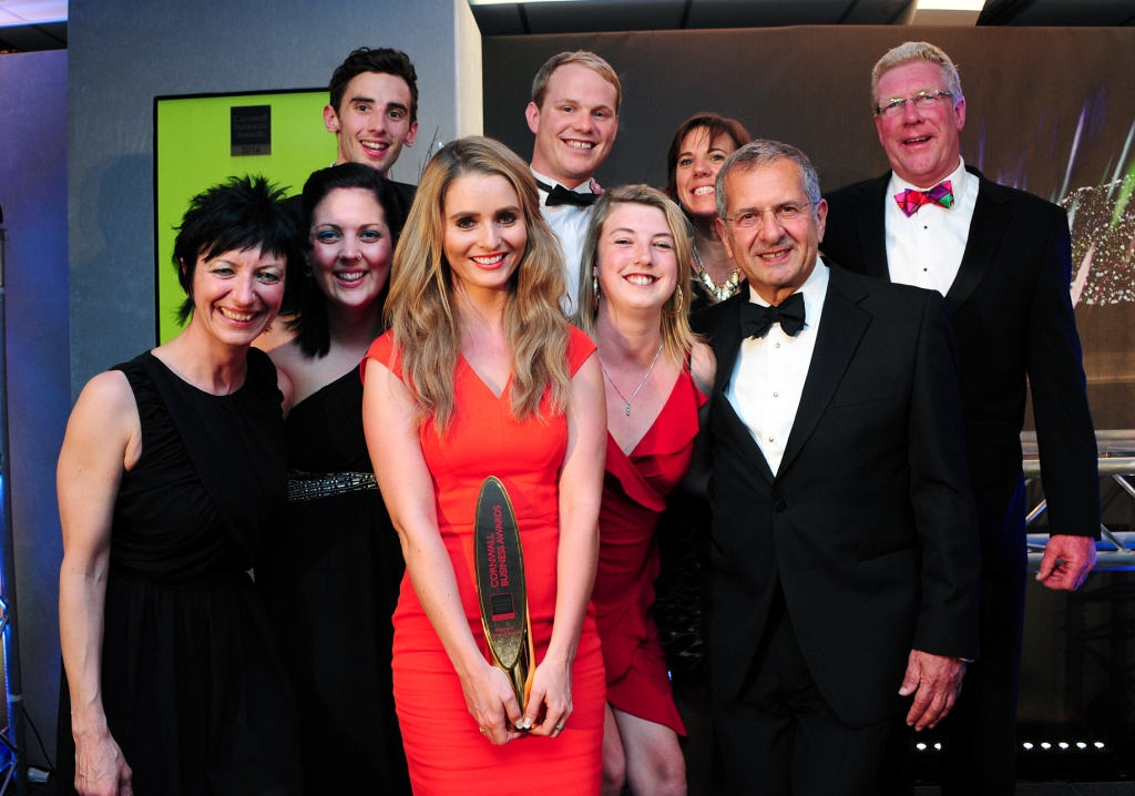 Last year's Cornwall Business Awards winner of winners, Reflex Marine, with guest speaker, Gerald Ratner and Cornwall Chamber CEO, Kim Conchie
