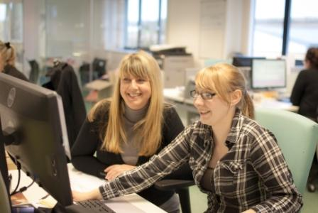 Aspect's commercial director Mandy Stinchcombe (l) with apprentice, Leah Attwood