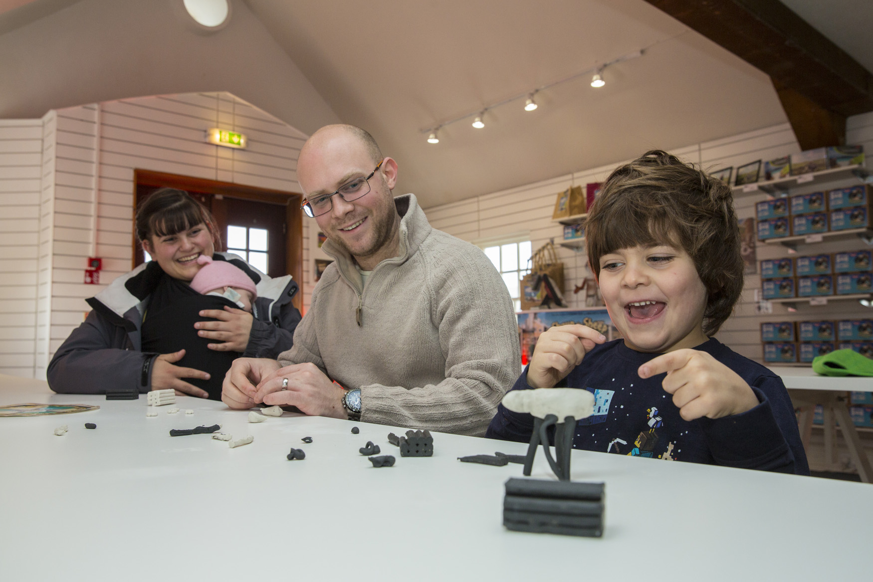 Eddie Smith, aged 5, from Redruth makes his own model of Shaun