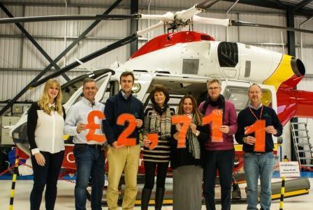 L-R: Becky Wise fundraising officer for (Cornwall Air Ambulance for Hendra), Robert May, Jon Hyatt, Janine Hyatt, Rebecca May, Bob Hyatt and Matt Way.