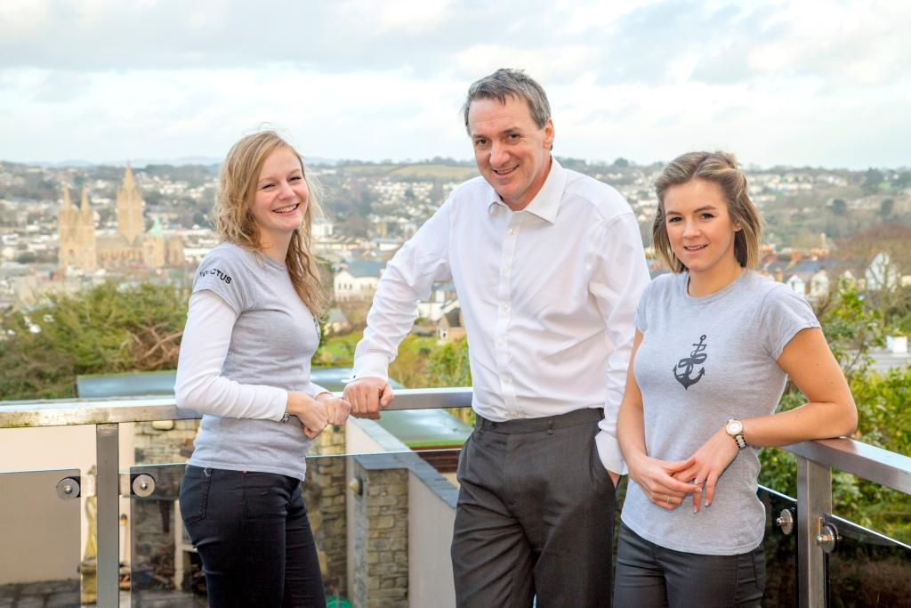 L-R: Charlotte Manuell (personal assistant, Coodes), Lawrence Ford (head of Coodes' mental health team), Sophia Cowburn (Invictus Trust)