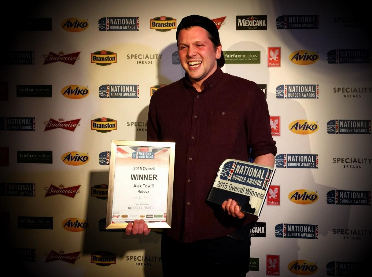 Hubbox co-director, Alex Towill, collects the award