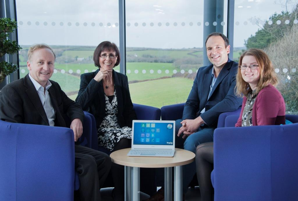 L-R: Dr Paul Upton; Karen Murray, manager of the Health and Wellbeing Innovation Centre in Truro; Alan Sanders; April Smith-Taylor, a newly-recruited administrator at Ultramed