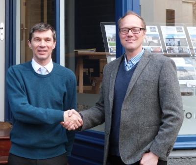 John Waldie (l) with Fowey River Estate Agents' director David Elderkin