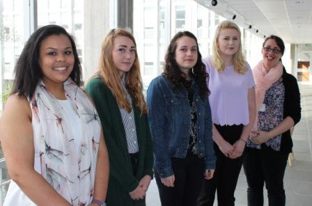 BT apprentices (l-r): Amelia Stewart, Yazmin Milner, Roxanne Calaz, Emmi Atkinson and Shelley Retallick
