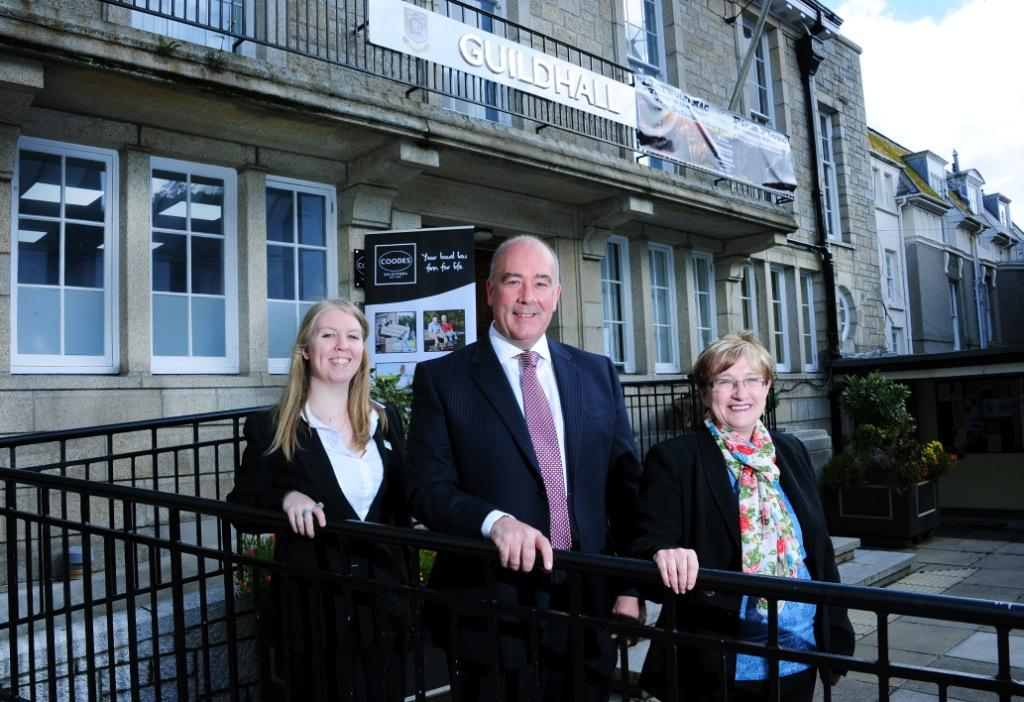 L-R: Coodes receptionist Jess Hudson, chairman of Coodes Peter Lamble, Coodes residential property lawyer, Mary Wright
