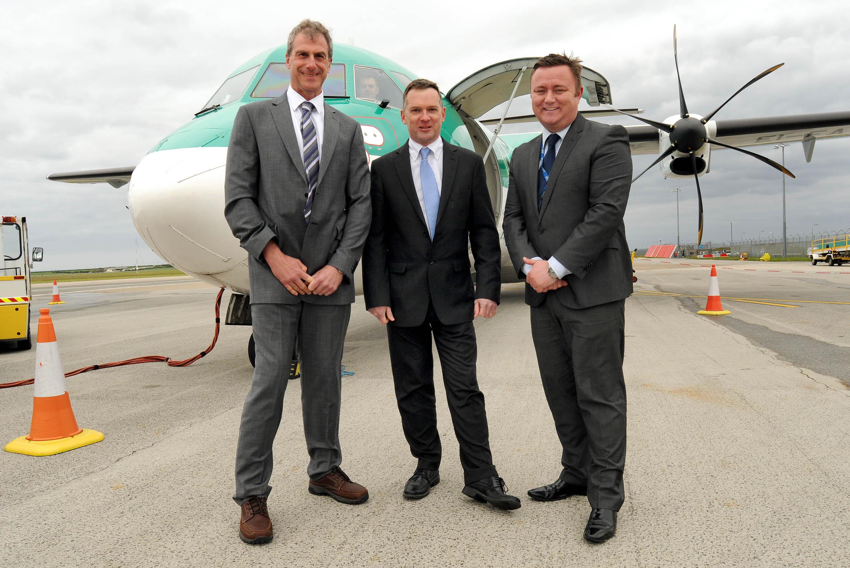 L-R: Martin Saxton, Keith Marshall (finance director, Newquay Cornwall Airport) and Richard Thomasson, (operations manager, Newquay Cornwall Airport).