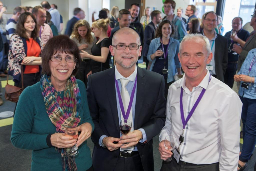 TIC 3rd year birthday celebration event (l-r): Karen Murray (Health and Wellbeing Innovation Centre manager), Richard Snell (manager of the Tremough Innovation Centre). Bernard Curren (centre director Pool Innovation Centre)