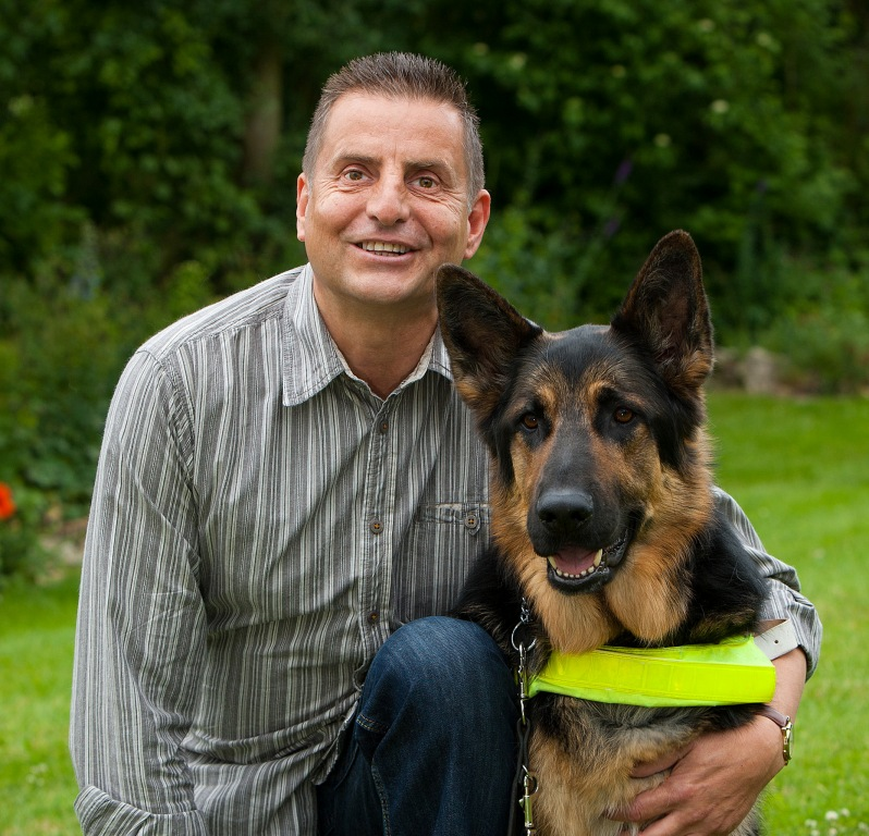 Steve Cunningham and his guide dog, Foster