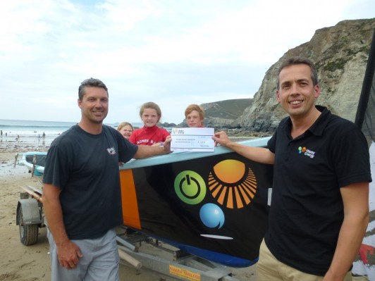 L-R: Steve Instance of St Agnes Surf Lifesaving Club with John Moores, Operations Director for Happy Energy with the new Happy Energy sponsored boat.