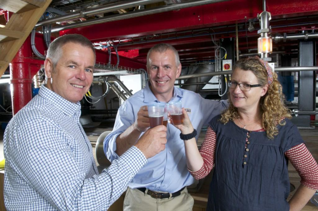 L-R: Nick Lawrence, National Trust assistant director of operations; Roger Ryman, head brewer at St Austell Brewery; and Liz Luck of the National Trust, tasting the very first 'wort' of The Gribbin beer