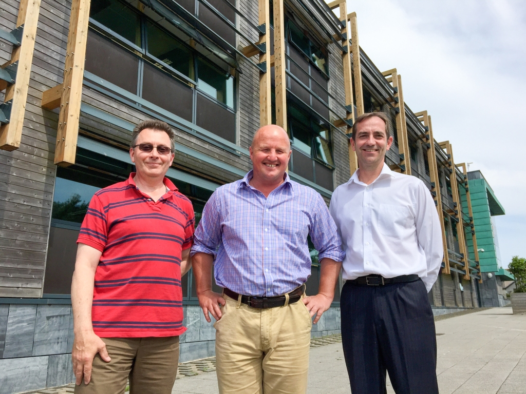 L-R: Michael Mackmurdie, Martyn Wooltorton and Stuart Hatch join Pool Innovation Centre-based Happy Energy